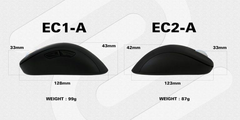 zowie EC1-A EC2-A size comparison side