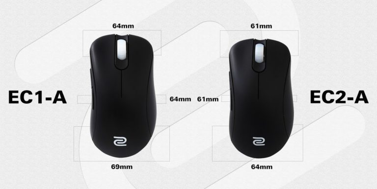 zowie EC1-A EC2-a size comparison top