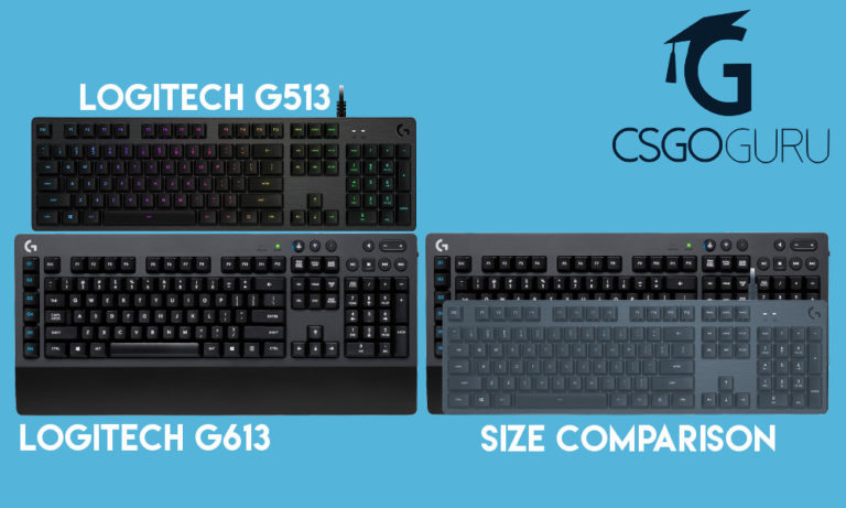 Size comparison between Logitech G613 and G513