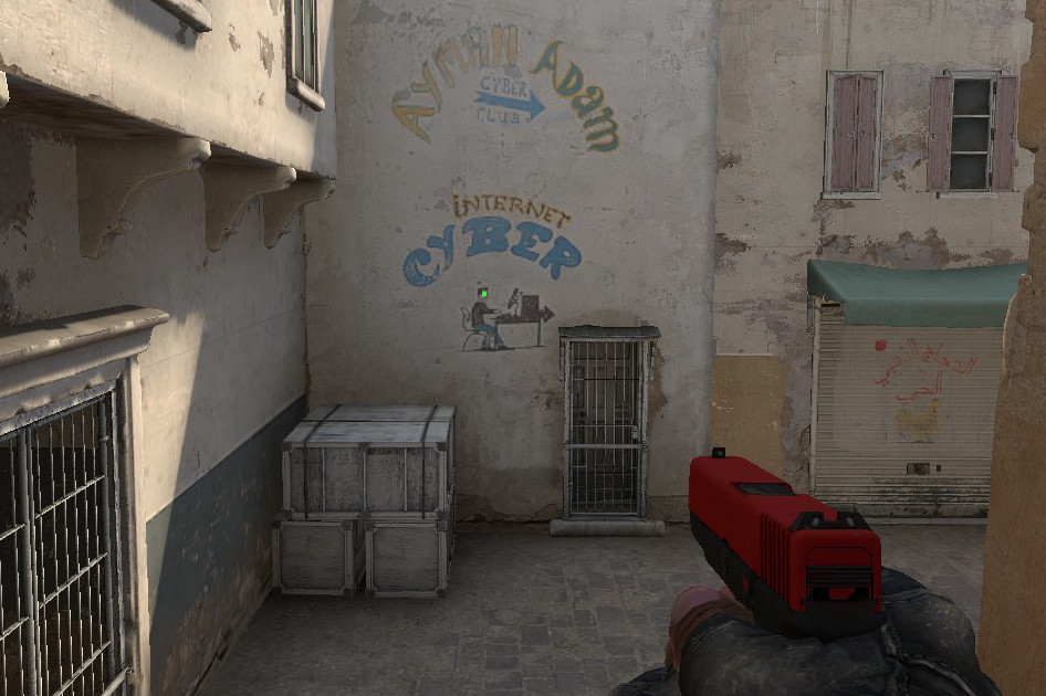 An example photo displaying a green dot crosshair for CS:GO