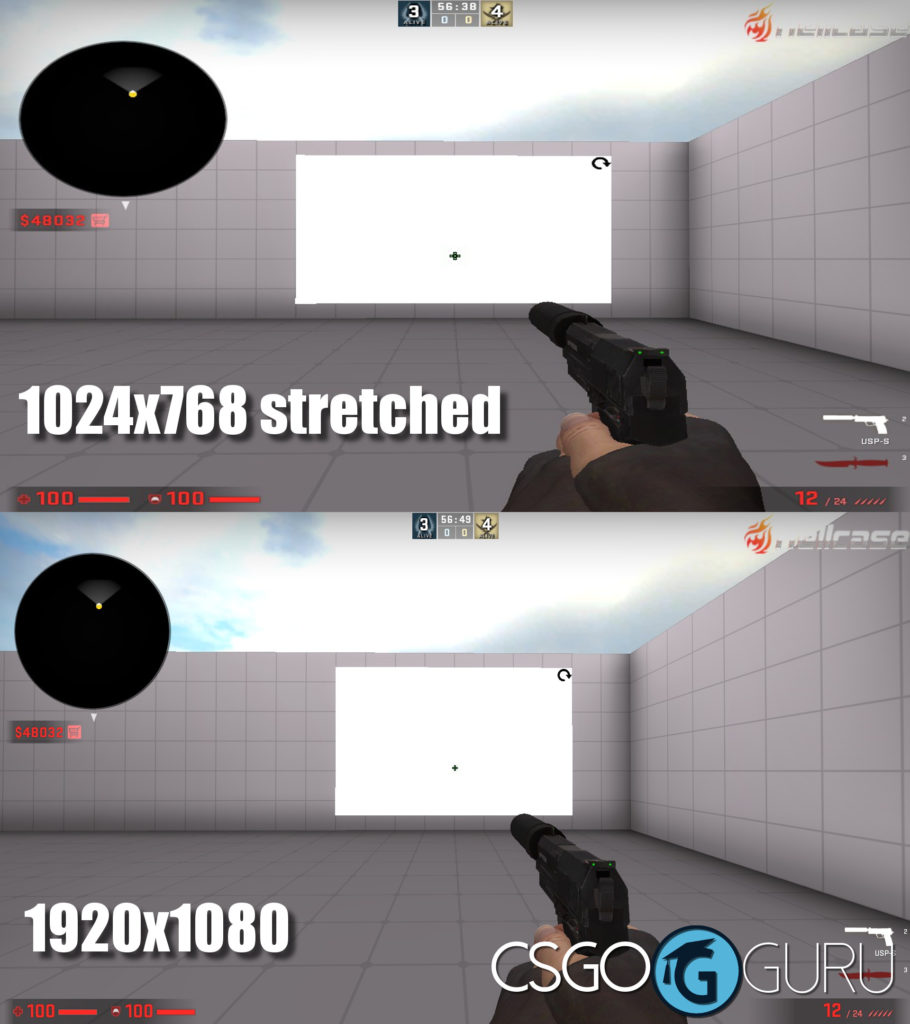 dennis' CS:GO crosshair on two different resolutions