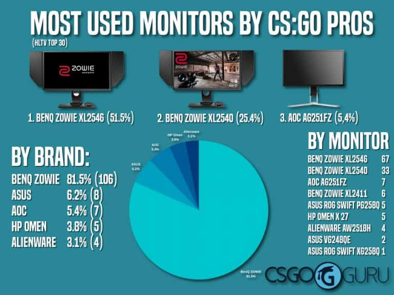 CS:GO pro monitors statistics - infographic about most used gaming monitors by pro CS GO players